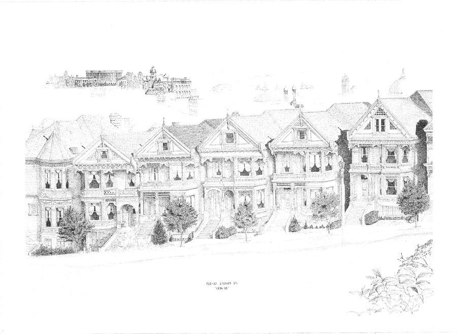 San Francisco Victorians Drawing by Edward Williams