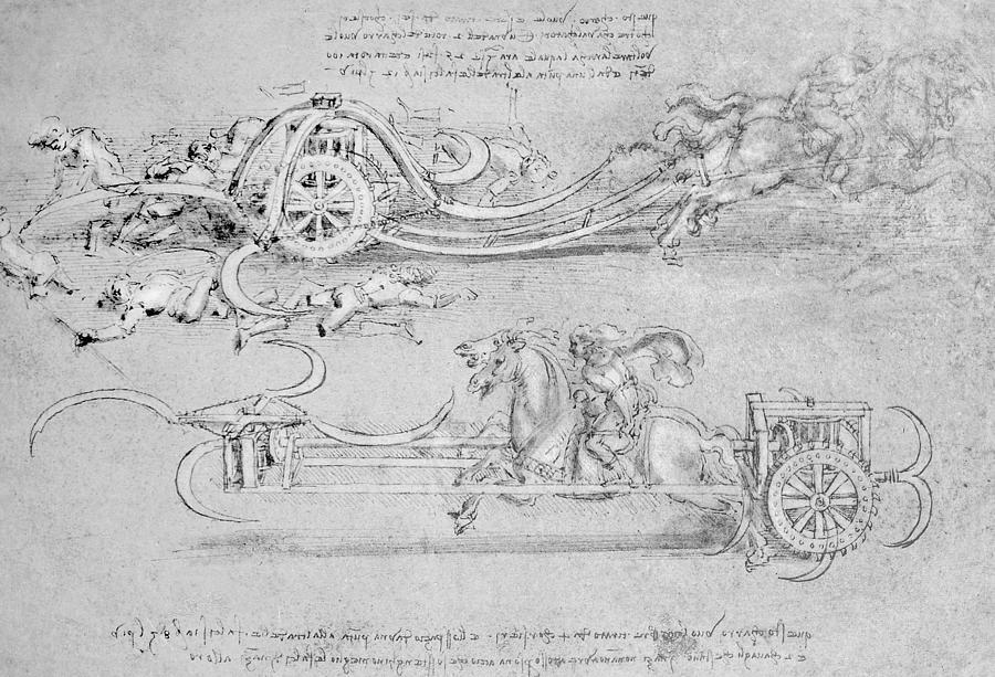 Scythed Chariot Drawing by Leonardo Da Vinci