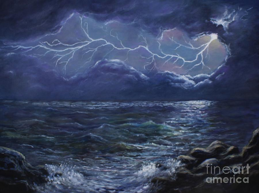 Sea Lightning Painting By Marlene Kinser Bell
