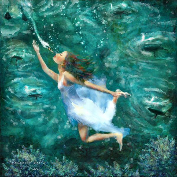 Seven Swans Swimming Painting Kimberly Potts