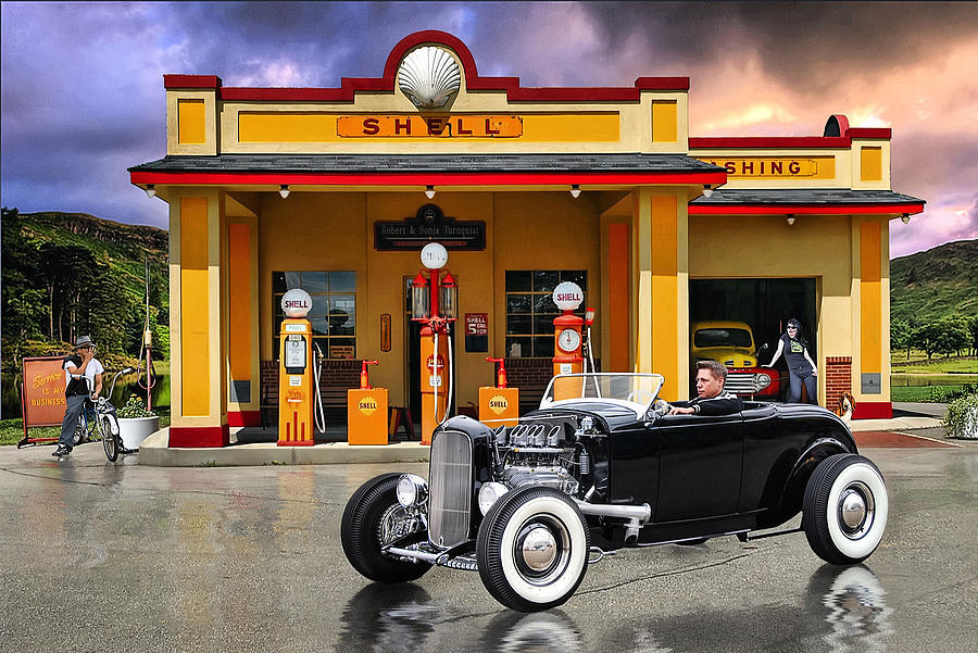 50s Car Wallpaper Iphone Shell Station Digital Art By Rat Rod Studios