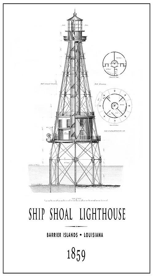 Ship Shoal Lighthouse Of Louisiana 1859 Pinline Photograph