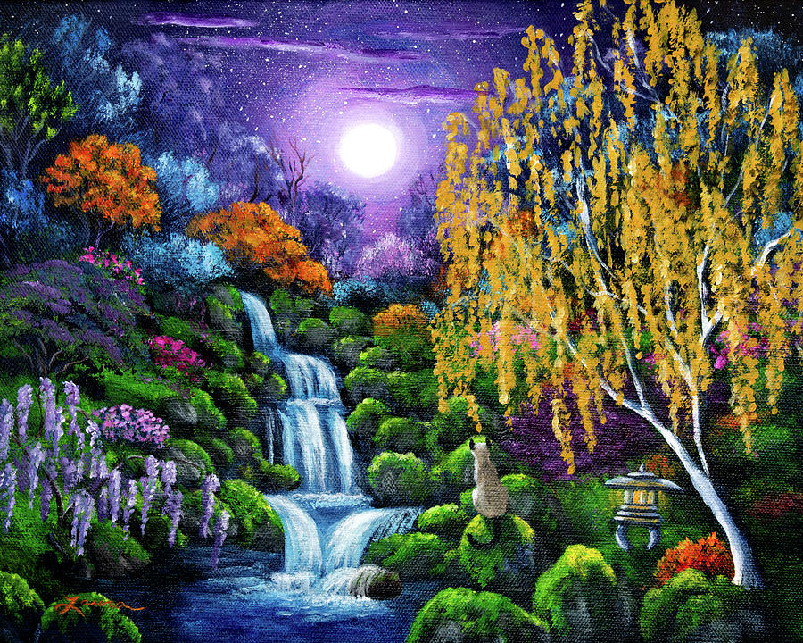 Wisteria Falls Wallpaper Siamese Cat By A Cascading Waterfall Painting By Laura Iverson