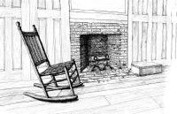 Sitting And Thinking Rocker Colonial Era Fireplace Sitting ...