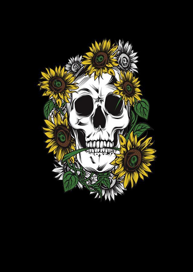 Sugar Skull Floral Skull Drawing By Said Tahraoui