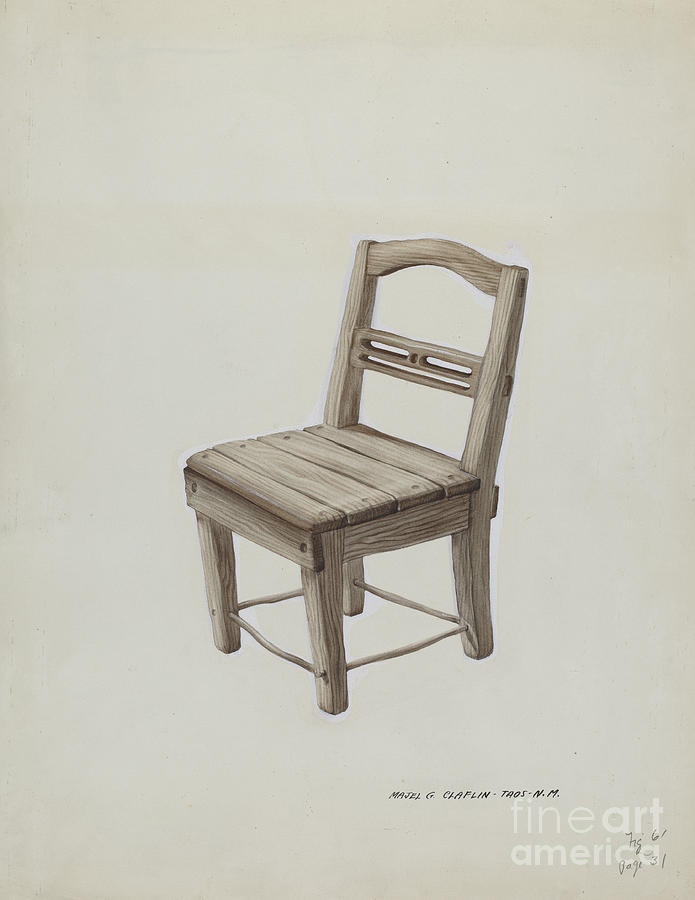 small wooden chair huge lawn drawing by majel g claflin