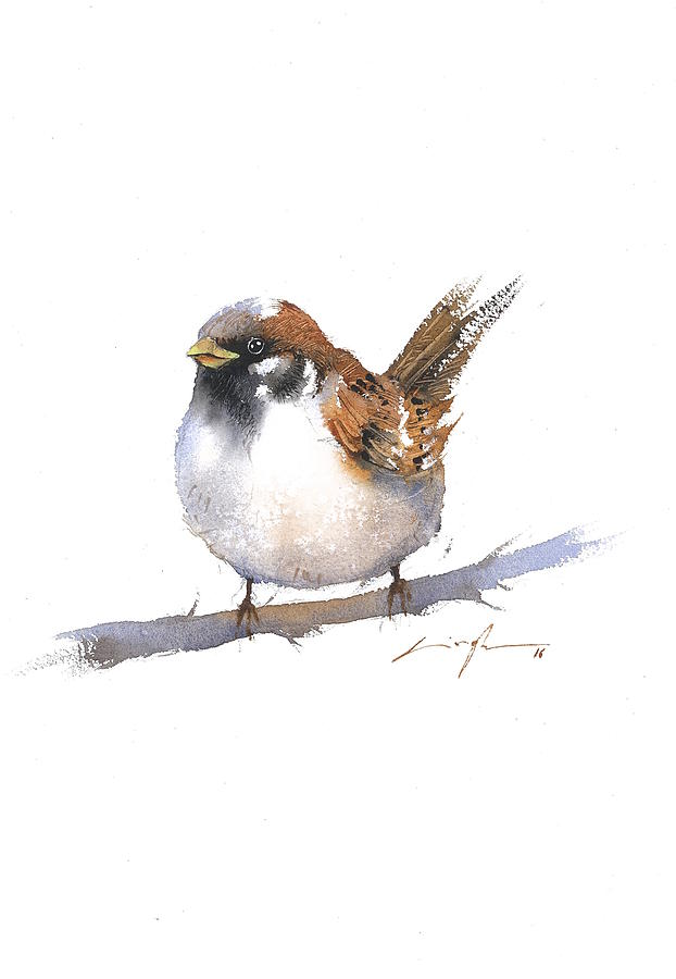 Sparrow Bird Watercolor Art Painting by Nitin Singh