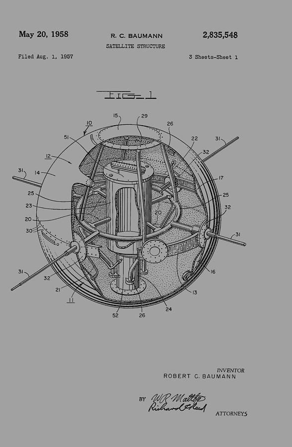 Spherical Satellite Structure Patent 1957 Photograph by