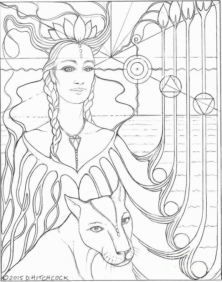 Spirit Guide Selmutee The Lemurian Drawing by Debra A