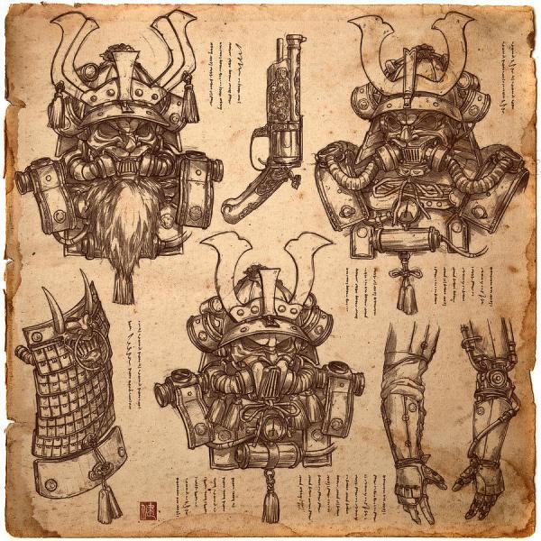 Steampunk Samurai Concept Drawing James Ng