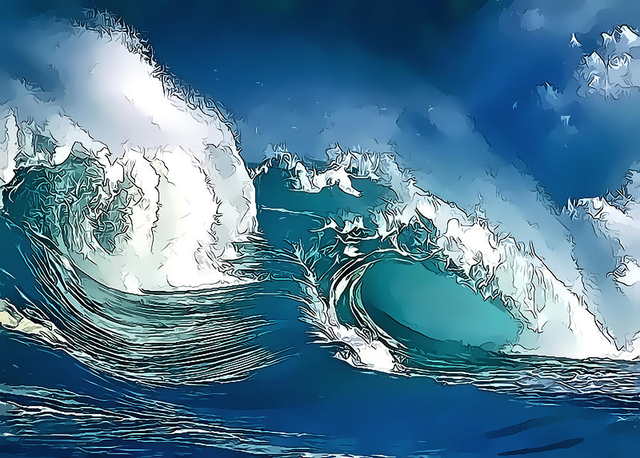 The Great Wave Off Kanagawa Iphone Wallpaper Stylized Wave Digital Art By Gareth Davies