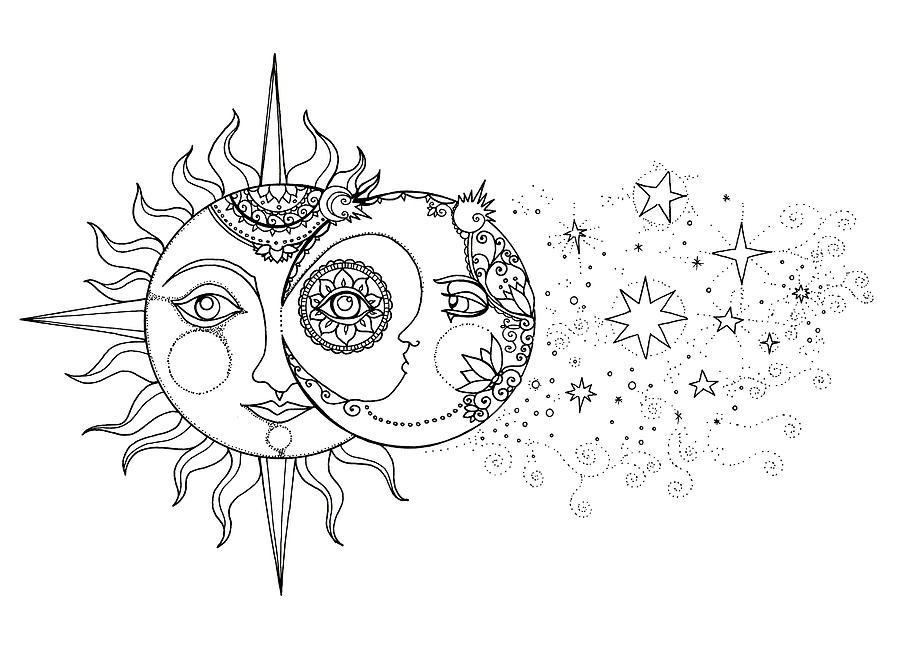 Sun And Moon And Stars Verson 2 Drawing by Katherine Nutt