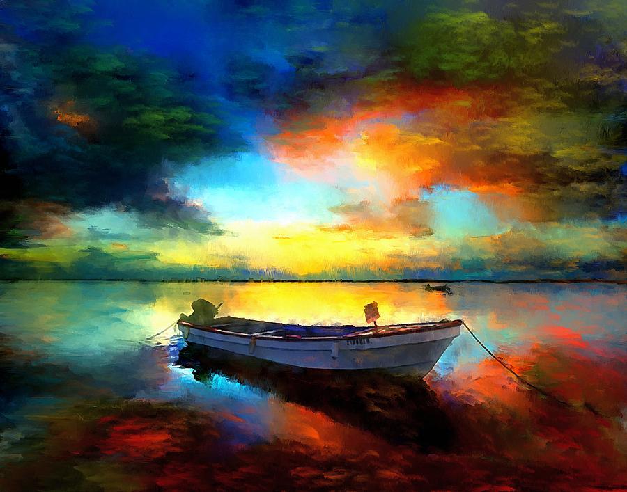 sunset boat landscape artwork