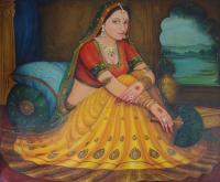 Sweet Rajasthani Woman Sitting Portrait Bright Color ...