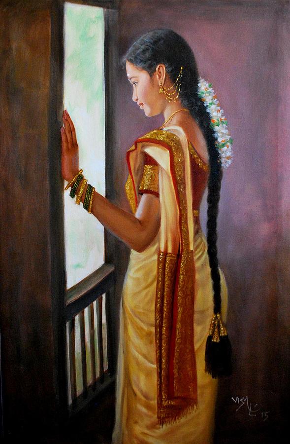 Tamil Girl Looking Through Window Painting by Vishalandra