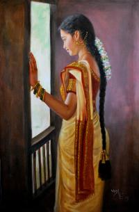 Tamil Girl Looking Through Window Painting by Vishalandra