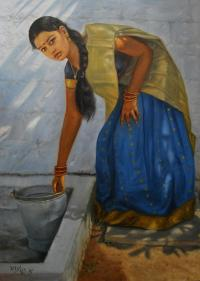Tamil Girl Washing Painting by Vishalandra Dakur
