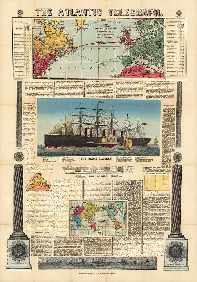 Submarine Map : submarine, Atlantic, Telegraph, Submarine, Cables, Europe, North, America, Historic, Drawing, Studio, Grafiikka