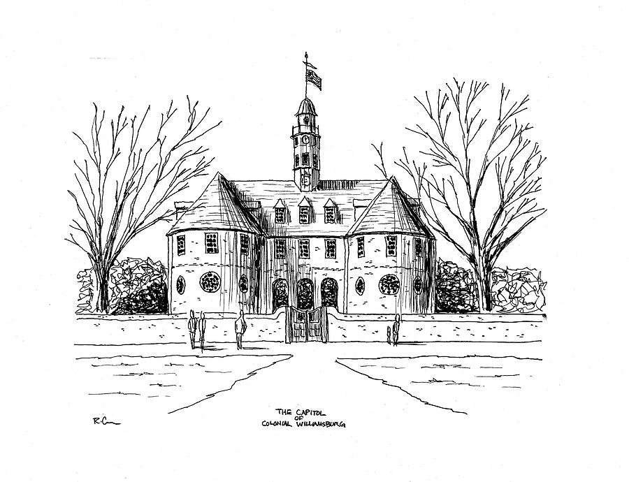 The Capitol at Colonial Williamsburg Drawing by Richard Cross