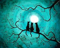 Three Black Cats Under A Full Moon Painting by Laura Iverson