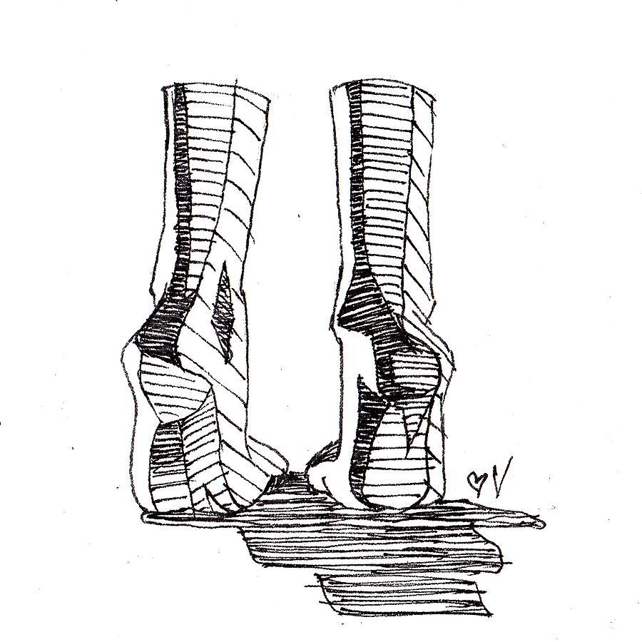 Tip Toes Drawing by Nadia Vanilla