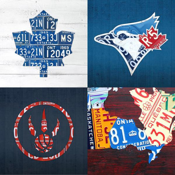 Toronto Sports Team License Plate Art Ontario Map Blue