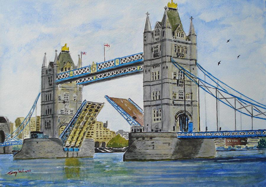 Wallpaper Falling Skies Tower Bridge London Painting By Tony Williams