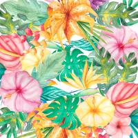 Tropical Flower Pattern Digital Art by Dushi Designs