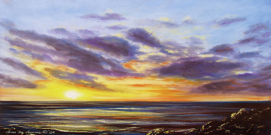 Tropical Sunset Panoramic Painting Painting by Gina De Gorna