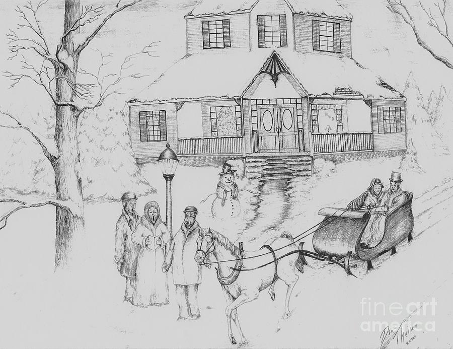Turn Of The Century Christmas Drawing by Dan Theisen