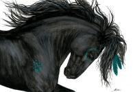 Turquoise Dreamer Horse Painting by AmyLyn Bihrle