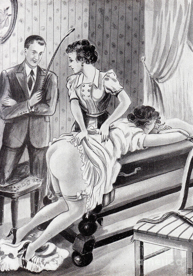Undressed For A Spanking Drawing by Bal Tit