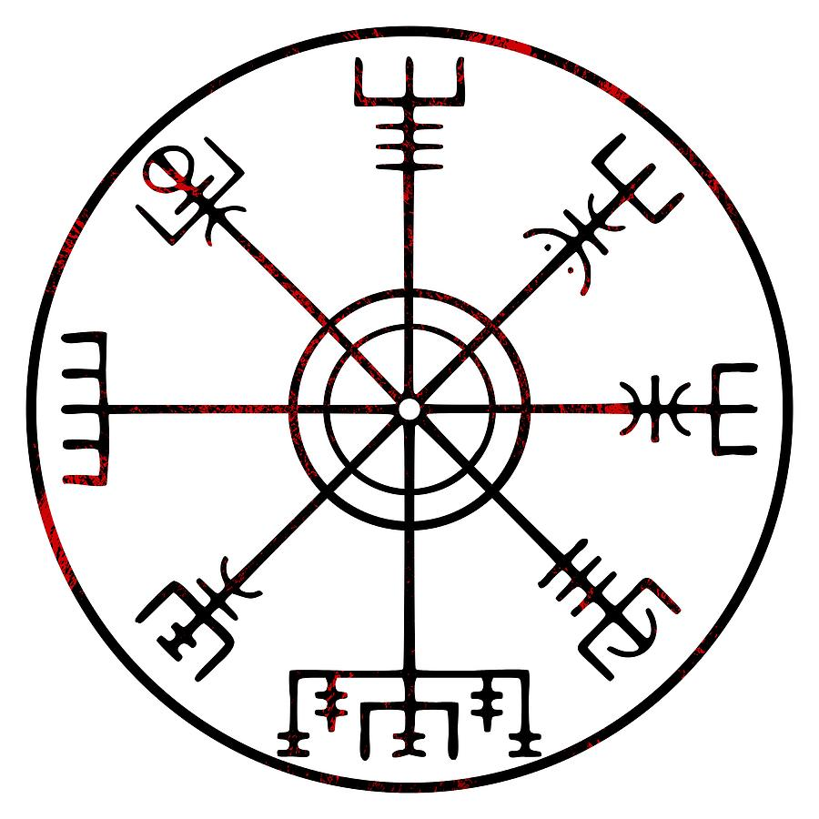 Vegvisir Icelandic Stave Digital Art by Early Kirky