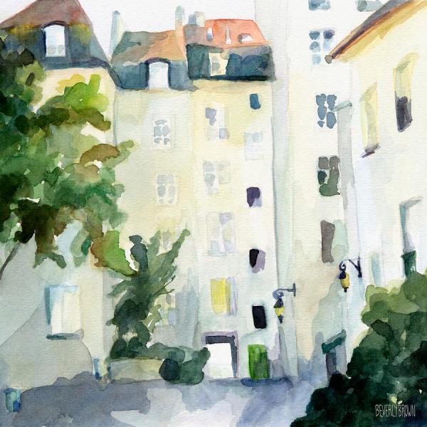 Paris Watercolor Painting Print