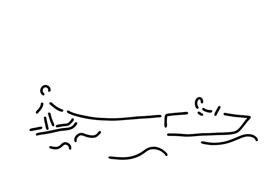 Water-ski Boat Waterski Drawing by Lineamentum