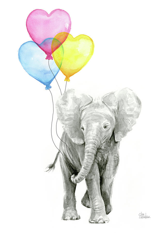 watercolor elephant with heart
