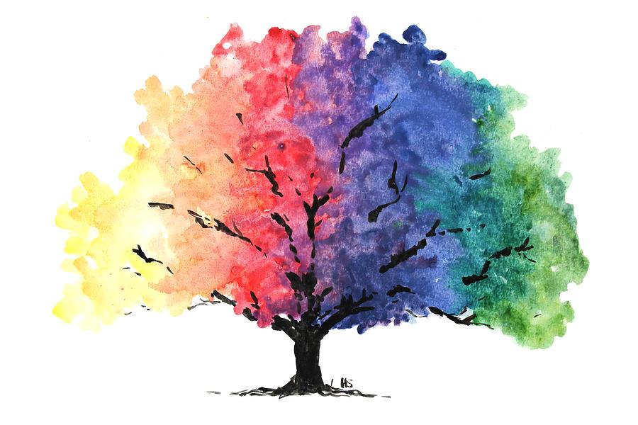 watercolor rainbow tree