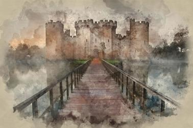 castle medieval painting watercolour moat gibson matthew ligh morning photograph wall uploaded which