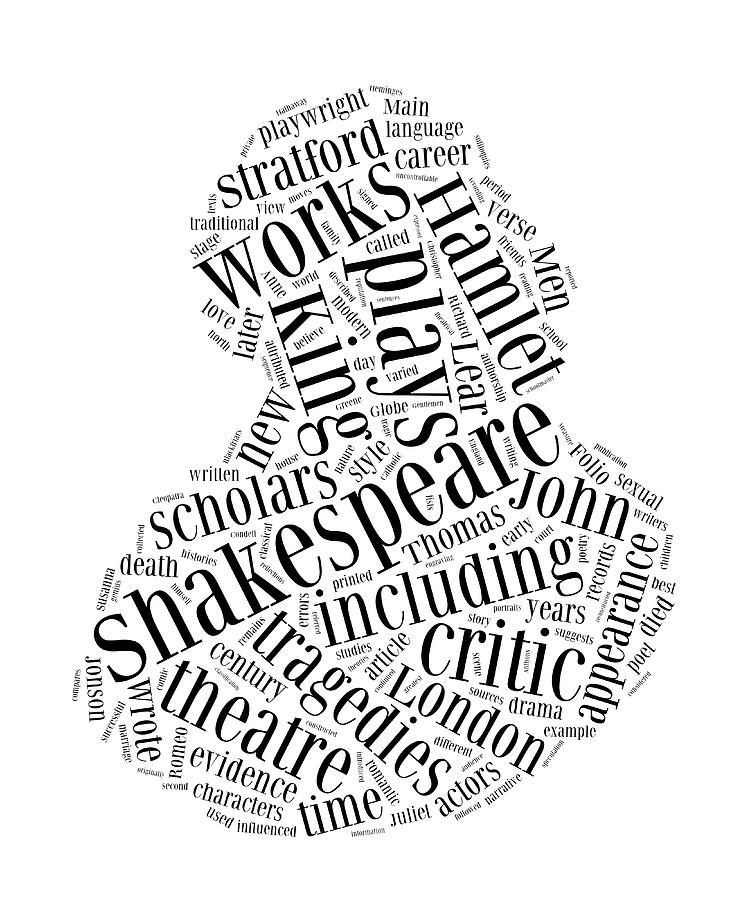William Shakespeare Word Cloud Digital Art by Philip Ralley
