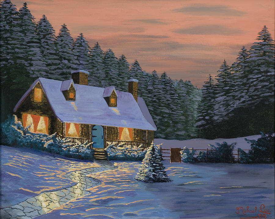 Winter Cottage Painting By Michael Lee