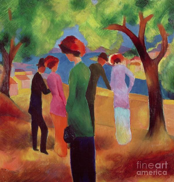 Woman In Green Jacket Painting August Macke