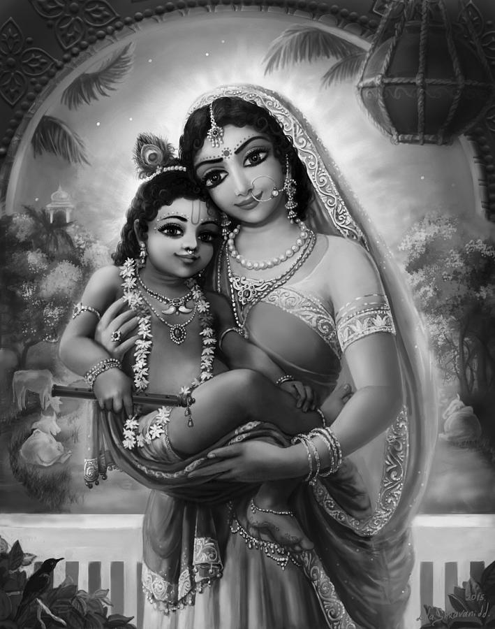 Krishna Photo Black And White : krishna, photo, black, white, Yashoda, Krishna, Black-white, Mixed, Media, Shravani