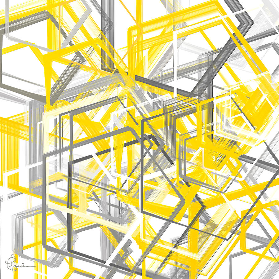 Yellow And Gray Geometric Shapes Art Painting by Lourry