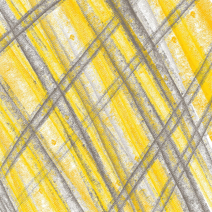 Yellow And Gray Lines Painting by Lourry Legarde