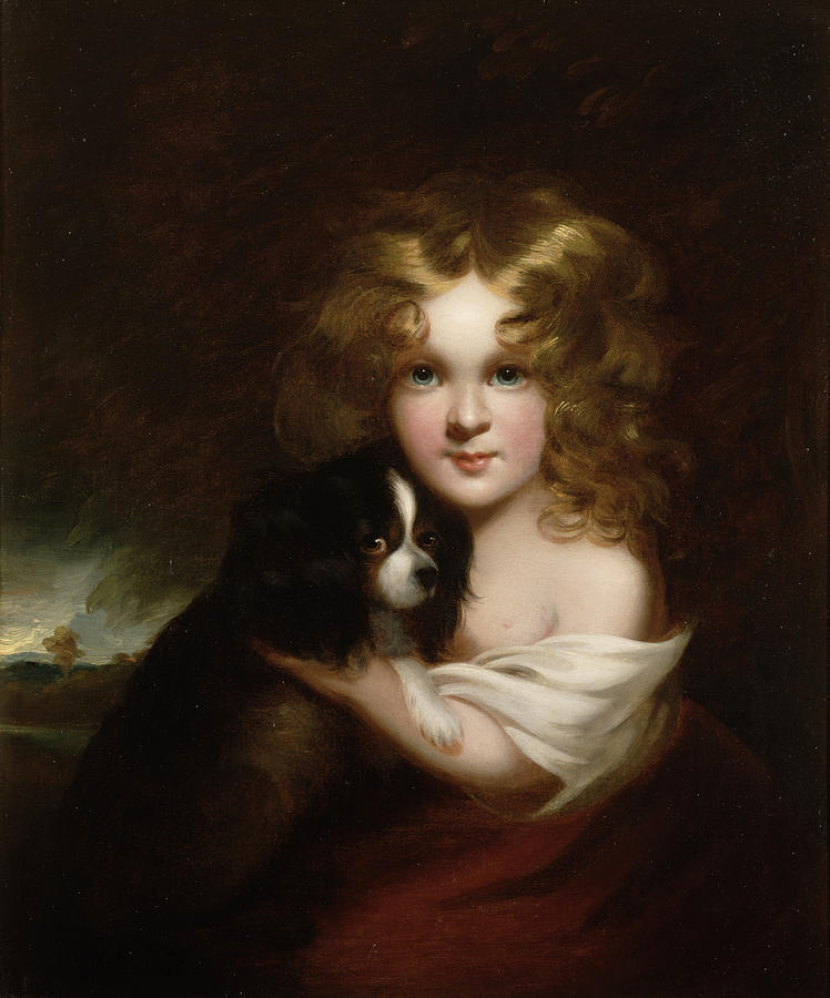 Young Girl With A Dog Painting by Margaret Sarah Carpenter