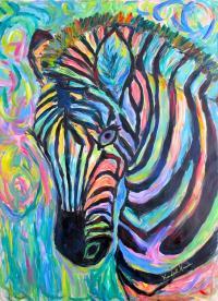 Zebra Curve Painting by Kendall Kessler