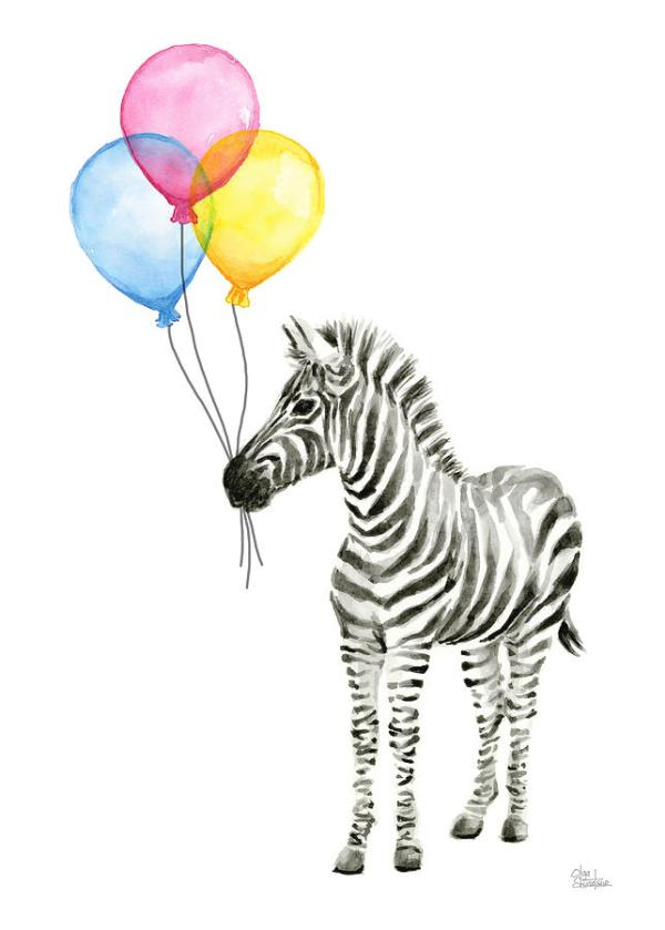 zebra watercolor with balloons