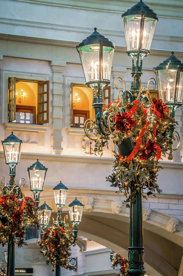 Beautiful Indoor Christmas Decorations Around Venetian Palazzo F Photograph By Alex Grichenko
