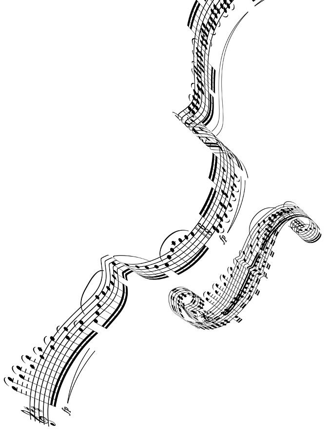 A Violin Made From Music Notes Digital Art by Ian Mckinnell