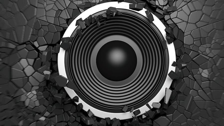 black sound speaker on
